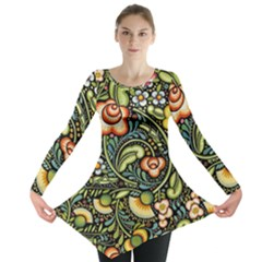 Bohemia Floral Pattern Long Sleeve Tunic