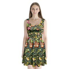 Bohemia Floral Pattern Split Back Mini Dress
