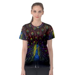 Beautiful Peacock Feather Women s Sport Mesh Tee