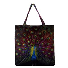 Beautiful Peacock Feather Grocery Tote Bag by BangZart