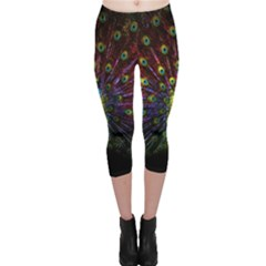 Beautiful Peacock Feather Capri Leggings