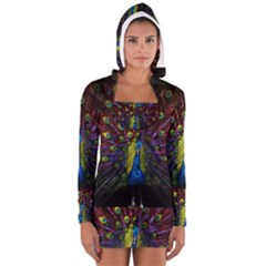 Beautiful Peacock Feather Long Sleeve Hooded T Shirt