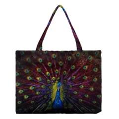 Beautiful Peacock Feather Medium Tote Bag by BangZart