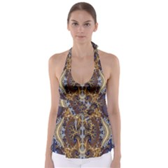Baroque Fractal Pattern Babydoll Tankini Top