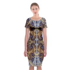 Baroque Fractal Pattern Classic Short Sleeve Midi Dress