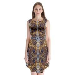 Baroque Fractal Pattern Sleeveless Chiffon Dress