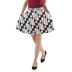 Batik Art Patterns A Line Pocket Skirt