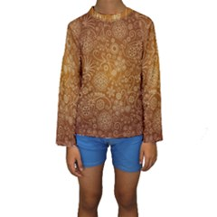 Batik Art Pattern Kids  Long Sleeve Swimwear