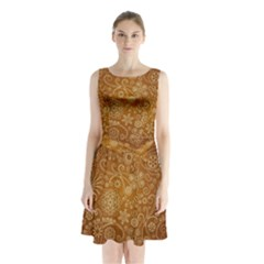Batik Art Pattern Sleeveless Waist Tie Chiffon Dress