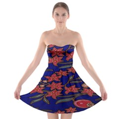 Batik  Fabric Strapless Bra Top Dress