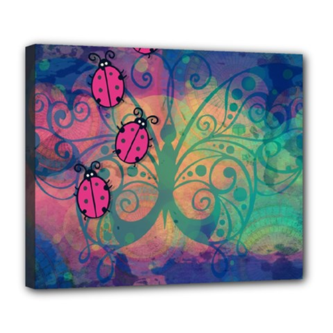 Background Colorful Bugs Deluxe Canvas 24  X 20