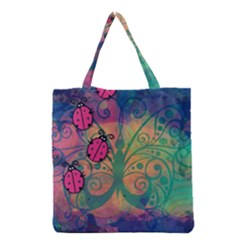 Background Colorful Bugs Grocery Tote Bag by BangZart