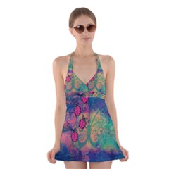Background Colorful Bugs Halter Swimsuit Dress
