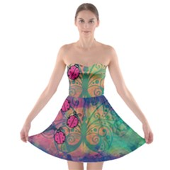 Background Colorful Bugs Strapless Bra Top Dress