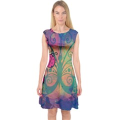 Background Colorful Bugs Capsleeve Midi Dress