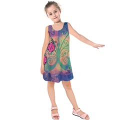 Background Colorful Bugs Kids  Sleeveless Dress
