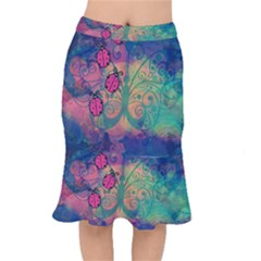 Background Colorful Bugs Mermaid Skirt