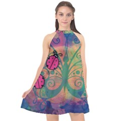 Background Colorful Bugs Halter Neckline Chiffon Dress  by BangZart