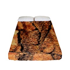 Bark Texture Wood Large Rough Red Wood Outside California Fitted Sheet (full/ Double Size)