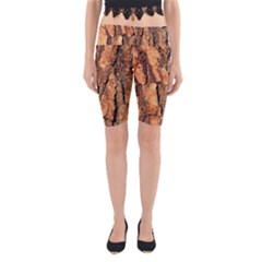 Bark Texture Wood Large Rough Red Wood Outside California Yoga Cropped Leggings