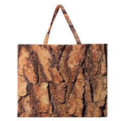 Bark Texture Wood Large Rough Red Wood Outside California Zipper Large Tote Bag by BangZart