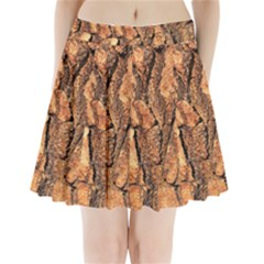 Bark Texture Wood Large Rough Red Wood Outside California Pleated Mini Skirt