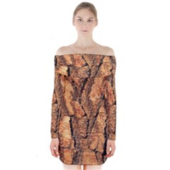 Bark Texture Wood Large Rough Red Wood Outside California Long Sleeve Off Shoulder Dress