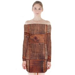 Barnwood Unfinished Long Sleeve Off Shoulder Dress