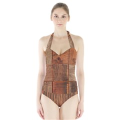 Barnwood Unfinished Halter Swimsuit