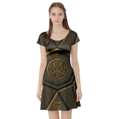 Aztec Runes Short Sleeve Skater Dress