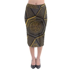 Aztec Runes Midi Pencil Skirt