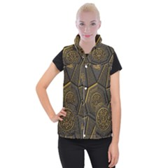 Aztec Runes Women s Button Up Puffer Vest