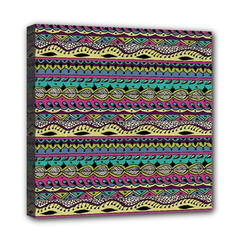 Aztec Pattern Cool Colors Mini Canvas 8  X 8  by BangZart