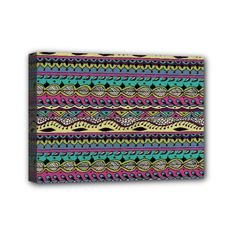 Aztec Pattern Cool Colors Mini Canvas 7  X 5