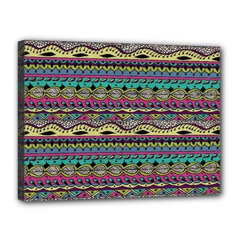 Aztec Pattern Cool Colors Canvas 16  X 12  by BangZart