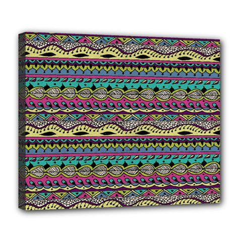 Aztec Pattern Cool Colors Deluxe Canvas 24  X 20   by BangZart