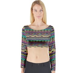 Aztec Pattern Cool Colors Long Sleeve Crop Top by BangZart