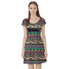Aztec Pattern Cool Colors Short Sleeve Skater Dress