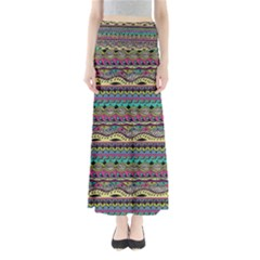 Aztec Pattern Cool Colors Full Length Maxi Skirt