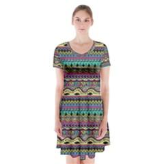 Aztec Pattern Cool Colors Short Sleeve V Neck Flare Dress