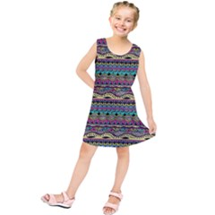 Aztec Pattern Cool Colors Kids  Tunic Dress
