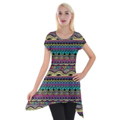 Aztec Pattern Cool Colors Short Sleeve Side Drop Tunic