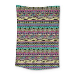 Aztec Pattern Cool Colors Small Tapestry