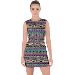 Aztec Pattern Cool Colors Lace Up Front Bodycon Dress