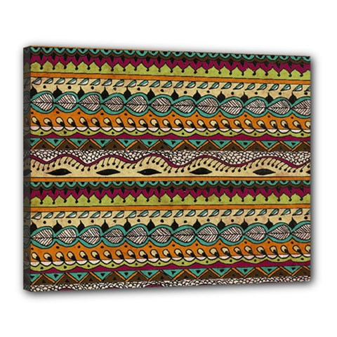 Aztec Pattern Ethnic Canvas 20  X 16