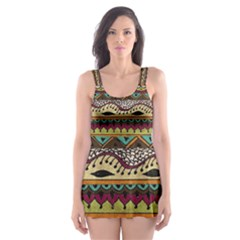 Aztec Pattern Ethnic Skater Dress Swimsuit