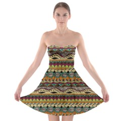 Aztec Pattern Ethnic Strapless Bra Top Dress