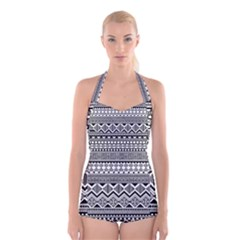 Aztec Pattern Design Boyleg Halter Swimsuit