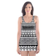 Aztec Pattern Design(1) Skater Dress Swimsuit