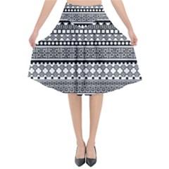 Aztec Pattern Design(1) Flared Midi Skirt